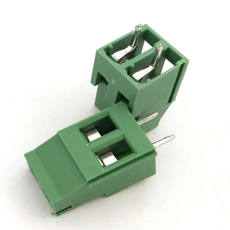ترمینال kf129 دو پین 2 پایه ترمینال پیچی روبردی سبز رنگ کانکتور رو بردی