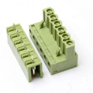 ترمینال فونیکس صاف 6 پین ترمینال نری مادگی سبز رنگ فاصله پایه 5.08 روبردی مستقیم PHOENIX 6 PIN ST
