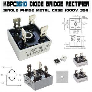 پل دیود فلزی مربعی 3510 پل دیود تک فاز kbpc3510 مشخصات پل دیود 35 آمپر 1000 ولت