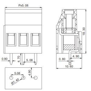 ابعاد و فاصله پایه ترمینال mx129
