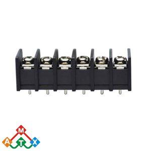 ترمینال kf45c شش 6 پایه ترمینال پنلی پیچی مشکی رنگ ترمینال 6 پین فاصله پایه 9.5mm