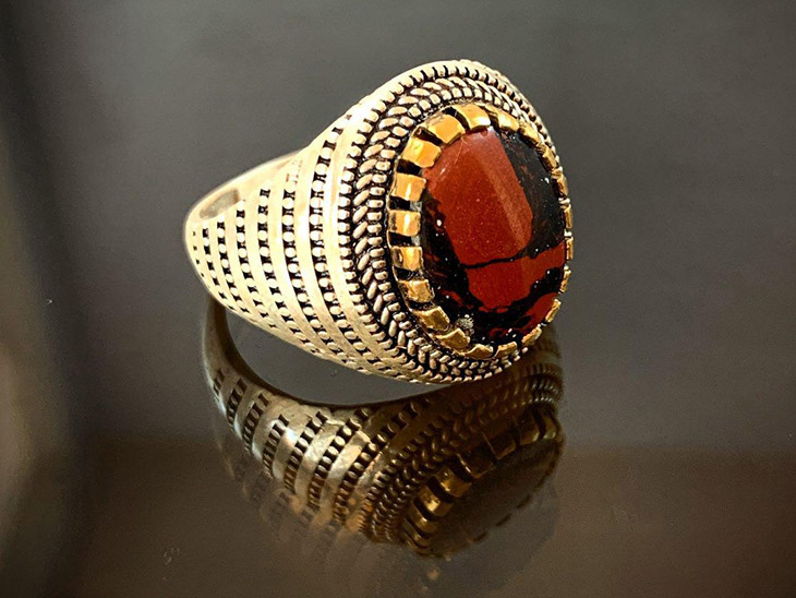 انگشتر نقره مردانه سنگ درمانی