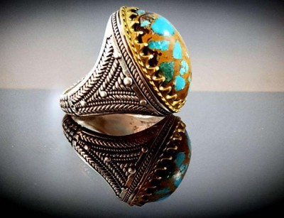 جواهر سنگ نقره انگشتر مردانه مولتی