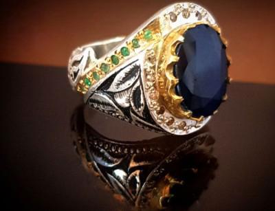 انگشتر نقره مردانه یاقوت کبود با الماس 111025
