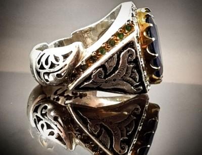 انگشتر نقره مردانه یاقوت کبود