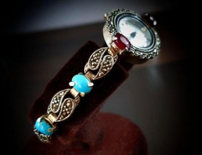 ساعت نقره جواهر سنگ فیروزه و یاقوت