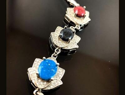 124040 دستبند نقره سنگ درمانی مولتی