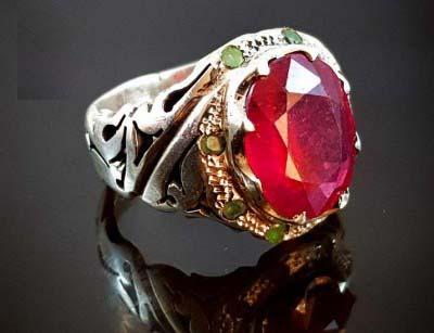 انگشتر نقره لوکس مردانه یاقوت قرمز