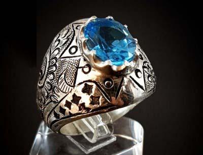 انگشتر نقره مردانه توپاز سوئیسی اصل