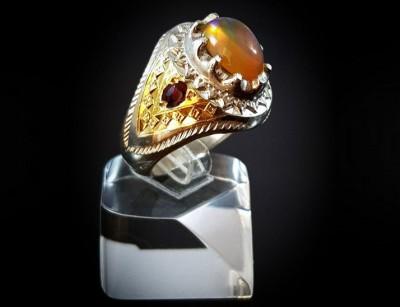 انگشتر نقره مردانه اوپال