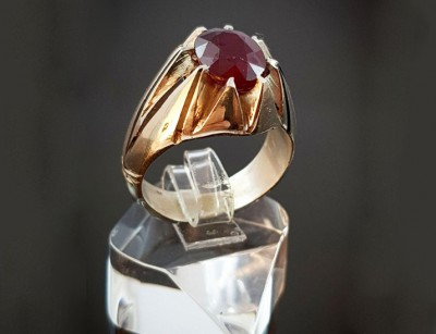 انگشتر نقره مردانه یاقوت قرمز