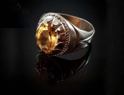 انگشتر نقره یاقوت زرد اصل