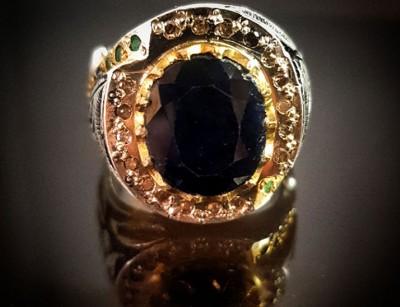 انگشتر نقره لوکس مردانه یاقوت کبود
