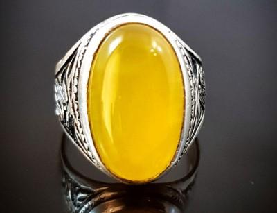 انگشتر نقره مردانه عقیق زرد با دعای شرف شمس