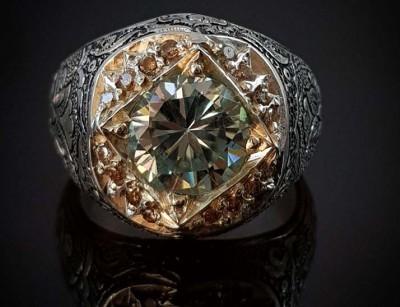 انگشتر نقره لوکس الماس روسی موزانایت