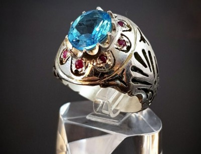 انگشتر نقره توپاز سوئیسی اصل