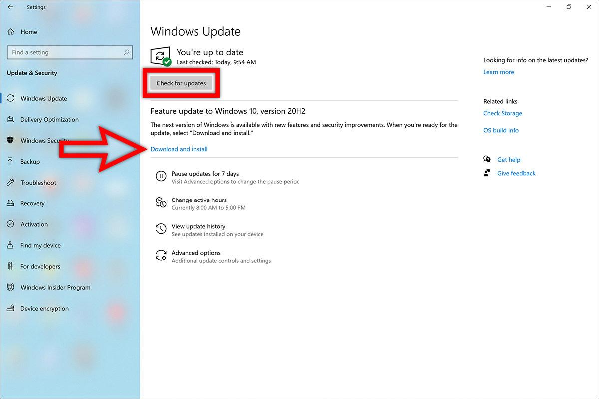 سرفیس نحوه روش طریقه دریافت دانلود اخرین جدیدترین آپدیت ویندوز 10 اکتبر 2020 ورژن جدید 20H2 برنامه Settings ستینگ Update b