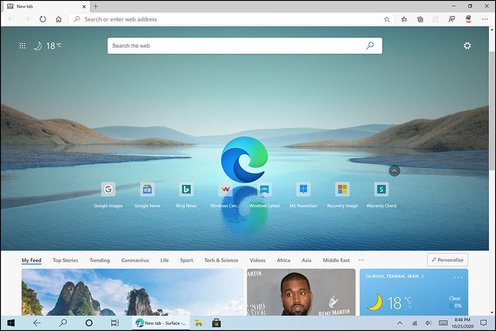 سرفیس نحوه روش طریقه دریافت دانلود اخرین جدیدترین آپدیت ویندوز 10 اکتبر 2020 ورژن جدید 20H2 مرورگر براوزر جدید نسخه آخر مایکروسافت ادج اج edge