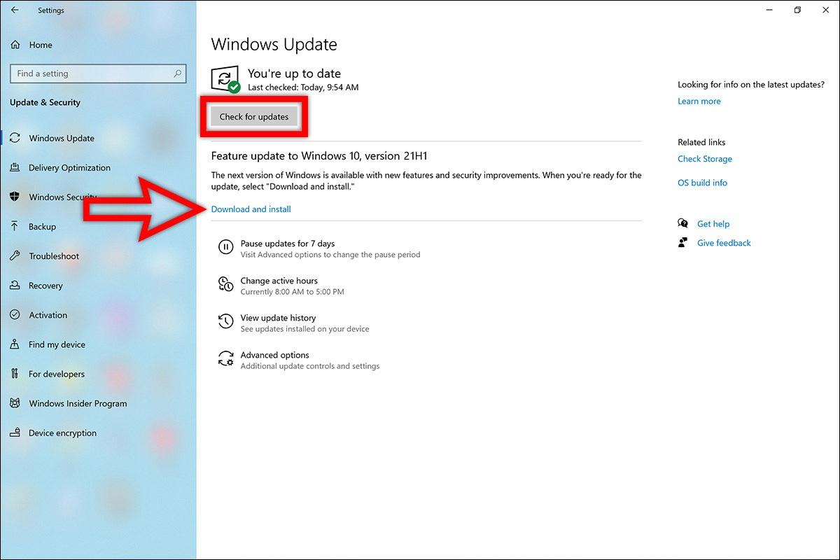 سرفیس نحوه روش طریقه دریافت دانلود اخرین جدیدترین آپدیت ویندوز 10 می 2021 ورژن جدید 21H1 برنامه Settings ستینگ Update b