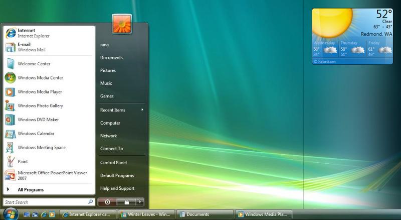 ویندوز ویستا ویجت ویدجت گجت گدجت آب و هوا هواشناسی دسکتاپ استارت Windows Vista Weather Start Menu Desktop Gadget Widget