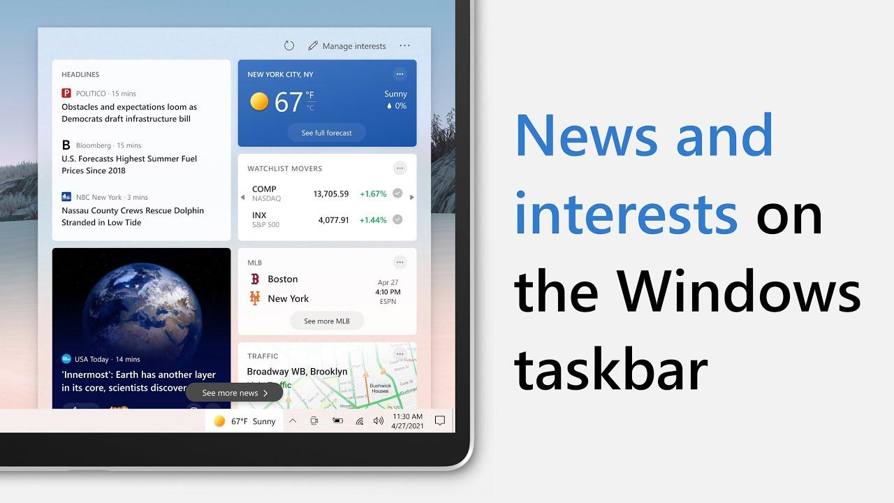 ویندوز 10 آپدیت جدید نیوز اند وتر آب و هوا اخبار هواشناسی تسکبار تسک بار نواروظیفه نوارظیفه windows 10 taskbar news & and interest اینترست
