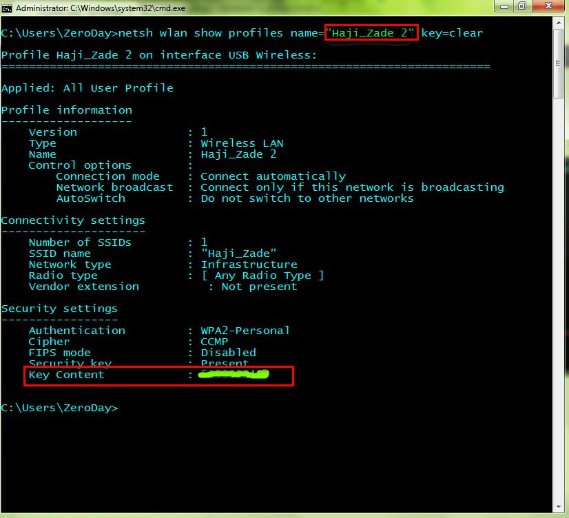 دستور netsh برای به دست آوردن اطلاعات وایرلس