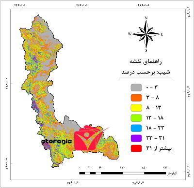 دانلود نقشه درصد شیب استان آذربایجان غربی