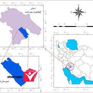 دانلود نقشه موقعیت شهرستان باشت