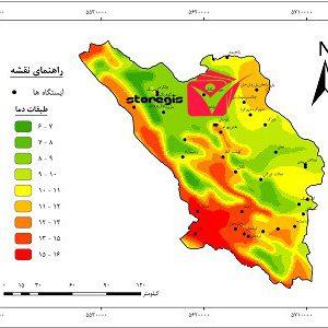 نقشه طبقات دما استان چهارمحال و بختیاری