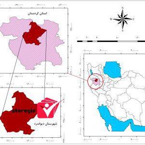 دانلود نقشه موقعیت شهرستان دیواندره
