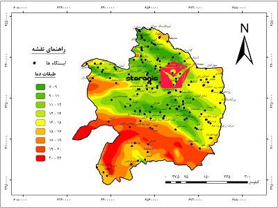 نقشه طبقات دما استان خراسان رضوی