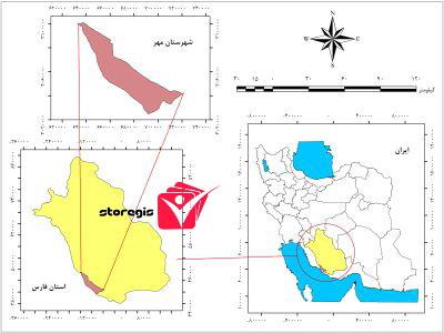 دانلود نقشه موقعیت شهرستان مهر