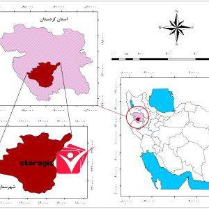 دانلود نقشه موقعیت شهرستان سنندج