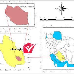 دانلود نقشه موقعیت شهرستان زرین دشت