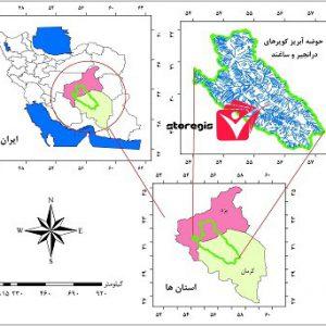 دانلود نقشه موقعیت جغرافیایی حوضه آبریز کویرهای درانجیر و ساغند