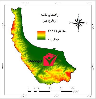 دانلود نقشه ارتفاع استان گیلان