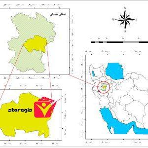 دانلود نقشه موقعیت شهرستان همدان