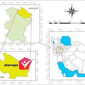 دانلود نقشه موقعیت شهرستان رزن