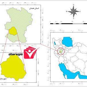 دانلود نقشه موقعیت شهرستان تویسرکان