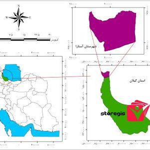دانلود نقشه موقعیت شهرستان آستارا