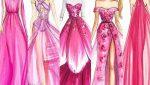 پالت رنگ صورتی در طراحی لباس
